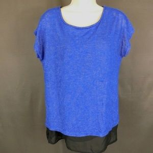 3 for $10--- Gibson Small Blouse Royal Blue Hi/Low